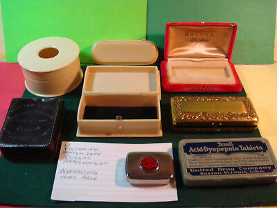 Junk Drawer Lot Of Nice Boxes Celluloid Brass Tin United Drug Co Bulova Leather