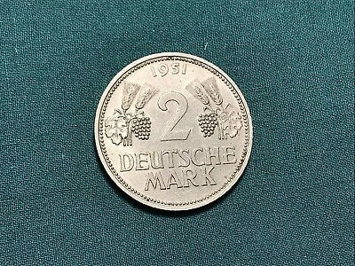 1951 D Germany 2 Deutsche Mark Marks Foreign Coin 1 Year Type
