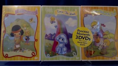 3 New Precious Moments DVDs Little Sparrow- Simon The Lamb- Who's Who at The Zoo