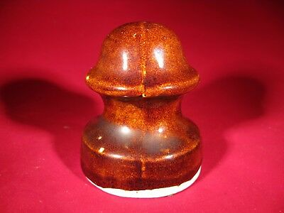 antique crude brown porcelain telegraph wire insulator 1800's Cardiff Giant NY