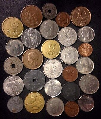 Vintage Belgium Coin Lot - 1916-PreEuro - 28 Great Coins - Lot #919