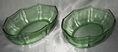 Vaseline Green 2 Octagonal Vegetable Serving Bowls