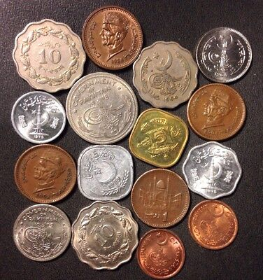 Old Pakistan Coin Lot - 1948-PRESENT - 16 ISLAMIC Uncommon Coins - Lot #919
