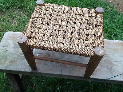 STUNNING FRENCH RUSTIC PAINTED WOODEN WOVEN SEAT STOOL 13 x 12 x 11""