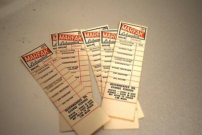 antique TEXACO MARFAK oil change stickers canadian nos