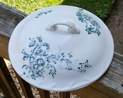 Antique Free and White Floral Chamber Pot Lid Cover