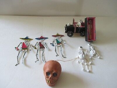 Hand Made Mexican Folk Art Day Of The Dead Figures---8--