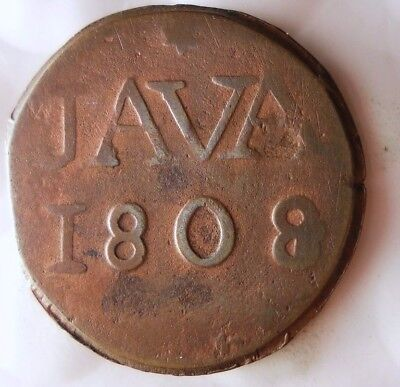1808 NETHERLANDS EAST INDIES (JAVA) DUIT - VERY Rare Coin - Lot #919