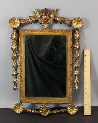 Small Antique Early 20thC Gold Gilt Mirror or Icon Painting Frame Angel Head NR