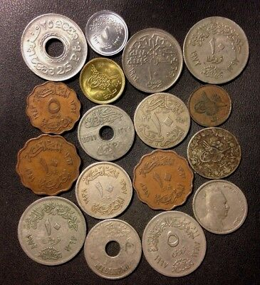 Vintage Egypt Coin Lot - 1901-Present - 17 Vintage Islamic Coins - Lot #919
