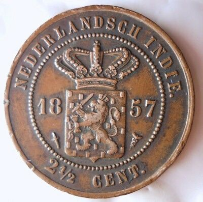 1857 NETHERLANDS EAST INDIES 2 1/2 CENTS - Old Type - Very Rare Coin -Lot #919