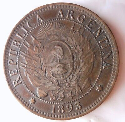 1893 ARGENTINA 2 CENTAVOS - AU - Very Rare Coin - Big Value - Lot #919