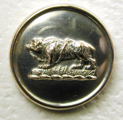 """Antique Silver Livery Button - Muzzled & Chained Bear - 5/8"""" Firmin"""