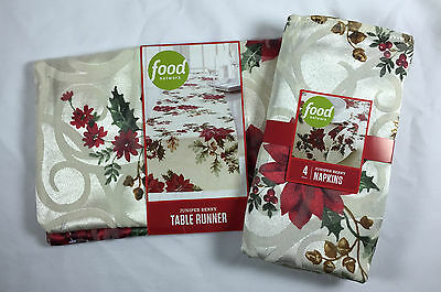 Food Network Table Runner & Napkins Juniper Berry Holly Poinsettia NWT