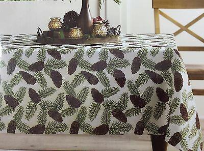 "PINECONE Tablecloth 70"" Round Cabin Lodge Adirondack Holiday Christmas Winter"