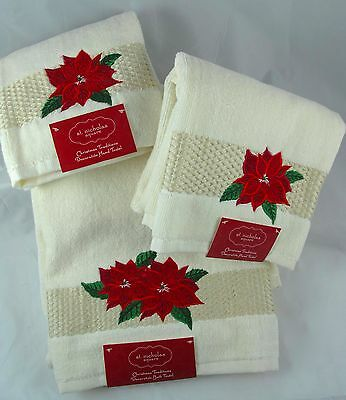 Christmas POINSETTIA Plush BATH & (2) HAND TOWELS Holiday Bridal Shower, NWT