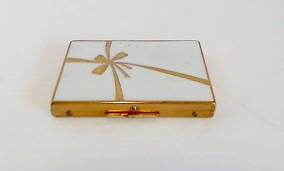 VTG Enameled Powder Compact Applied Gold Lid Ribbon Puff Signed Lorelei Screen