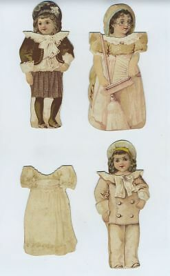(4) 1800's Clark's Sewing Advertising Trade Card Die Cut Stand-Up Dolls bv1511
