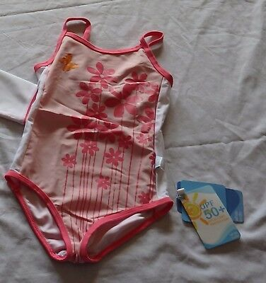 Girls size 2 One piece BATHERS Pink flowers White Soda  UPF50+  NEW