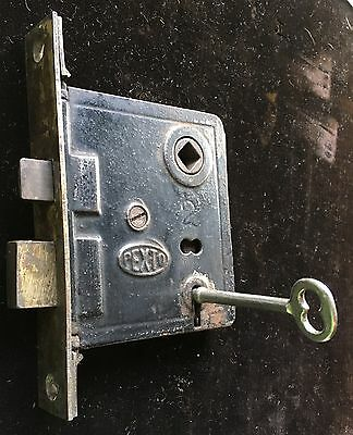"Antique Vtg ""pexto"" Mortise Lock Set W Working Skeleton Key"