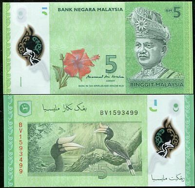 Malaysia 5 Ringgit 2012 / 2017 P 52 New Sign Polymer Unc Banknote Nr