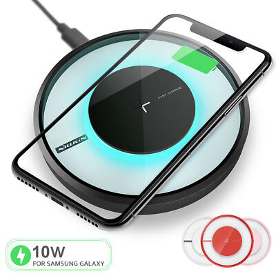 Qi Fast Wireless Charger Charging LED Pad for iPhone X/8/8 Plus Galaxy Note 8/S8