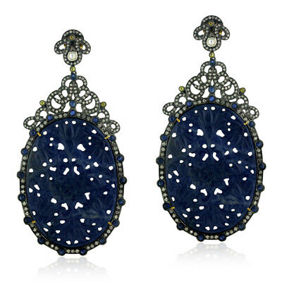 18K Gold Pave Diamond Blue Sapphire Silver Dangle Earrings Carved Jewelry