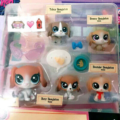 Littlest Pet Shop Mommy and Babies Beagleton Dogs Fmaily #231-235 LPS Pet Figure