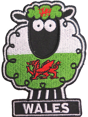 Wales Welsh Cartoon Sheep Flag Embroidered Patch
