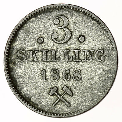1868 Norway 3 Skilling ~ KM#330.1 Norge
