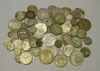 80 world silver coins, lots of variety. Half a kilogram.