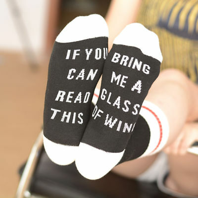 Unisex Unique socks 'If You can read this Bring Me a Glass of Wine' US Newest