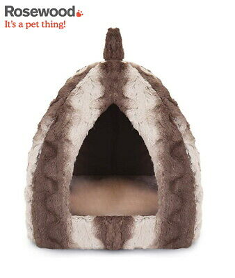Rosewood 40 Winks Luxury Grey Plush Hooded Cat Pyramid Igloo Cat Bed 04378