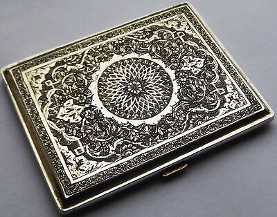 Fine Quality Antique Persian Solid Silver Cigarette Case. Very Heavy 181g. 6.5oz