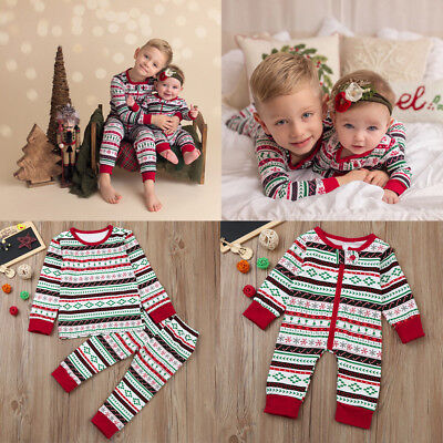 Family Matching Christmas Pajamas Set Baby Boy Romper Bodysuit Playsuit Outfit