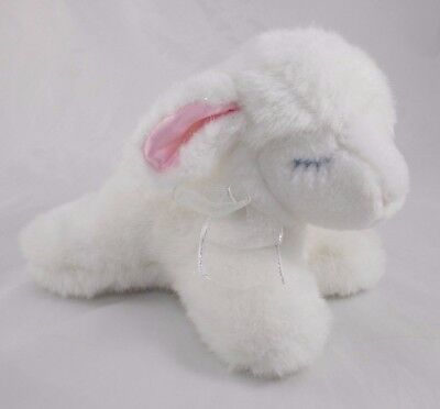"Eden Lamb Sheep Plush Sparkle Pink Satin Ears 7"" Long"