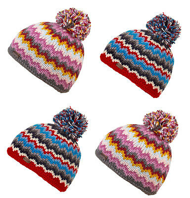 9105332a961 Kusan 100% Wool Bobble Beanie in Zig Zag Pattern Red Blue Grey Yellow