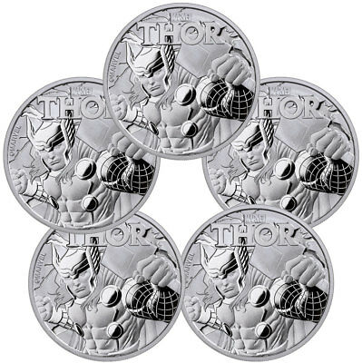 Lot of 5) 2018 Tuvalu Thor 1 oz Silver Marvel Series $1 In Mint Capsule SKU49352