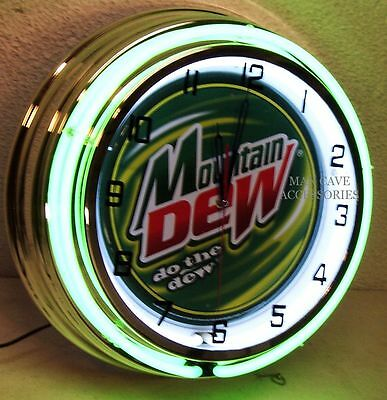 "18"" MOUNTAIN DEW Do The Dew Sign Double Neon Clock"