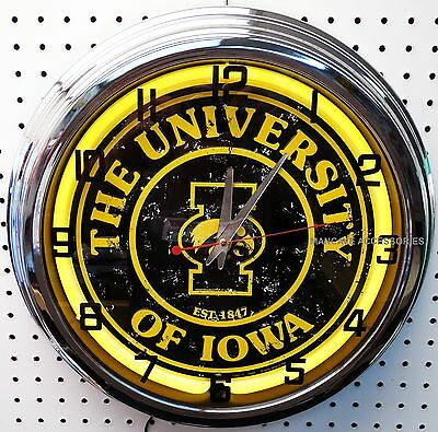 "17"" University of IOWA Hawkeyes Sign Neon Clock"