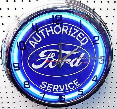 "17"" FORD Blue Oval Authorized Service Sign Neon Clock"