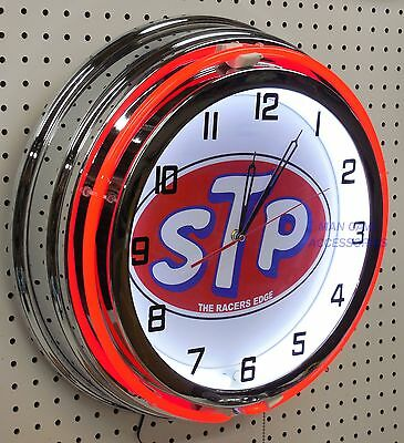 "18"" STP The Racers Edge Sign Double Neon Clock"