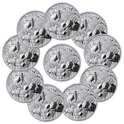 Lot of 10) 2018 Tuvalu Thor 1 oz Silver Marvel Series $1 W/Mint Capsule SKU49353