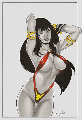 VAMPIRELLA BY ALEX LEI- ART PINUP Drawing Original