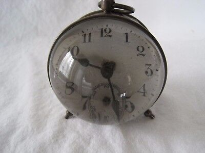 Vintage Small Brass Desk Or Table Clock With Magnified Lens - Non Worker