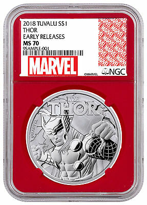 2018 Tuvalu Thor 1 oz Silver Marvel Series $1 NGC MS70 ER Red Gasket SKU49368