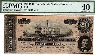 T-67 PF-8 $20 Confederate Paper Money 1864 - PMG Extremely Fine 40 - 4 over 1