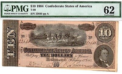 T-68 PF-44 $10 Confederate Paper Money 1864 - PMG Uncirculated 62!!
