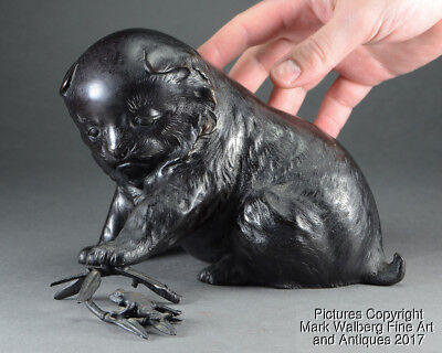 Japanese Bronze Sculpture, Puppy w/ Frog on Bamboo, Meiji Period, 19th Century