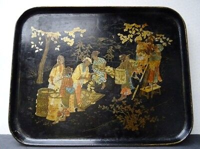 Fantastic Chinese Japanese Antique Large Japanned And Lacquer Tray Circa 1880